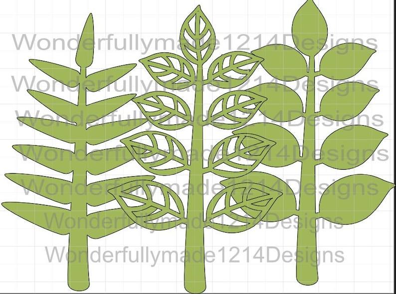 paper leaf die cut branches leaf template. Leaf template Rose leaf template Giant paper flower SVG branched leaf pattern