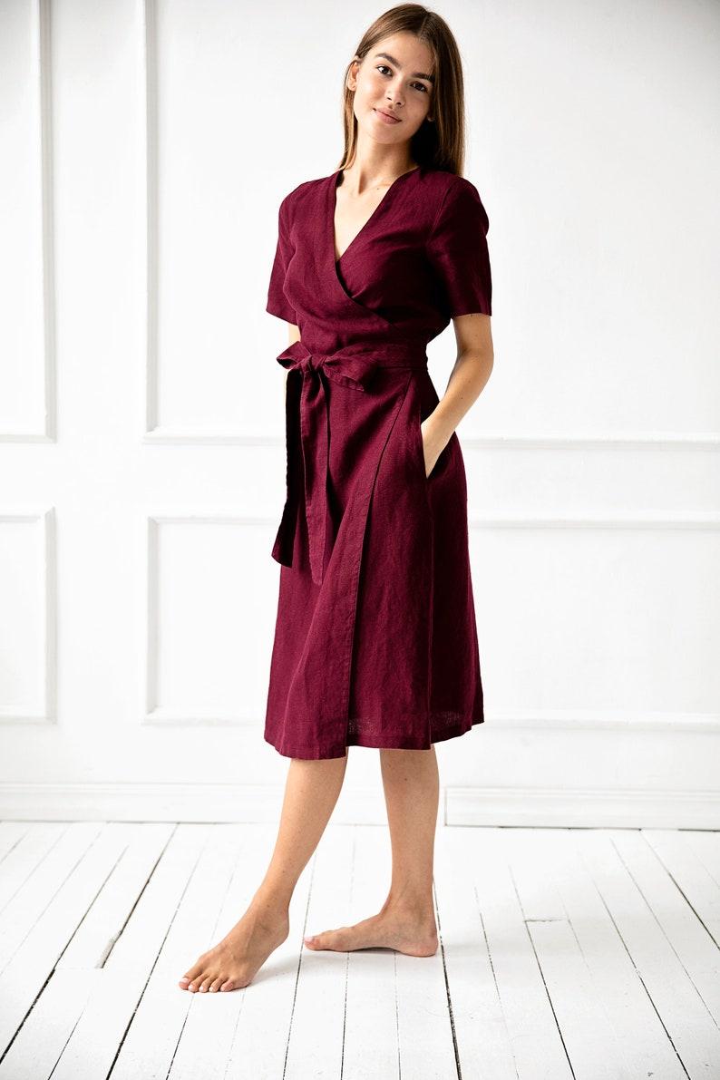 Pregnancy Robe 100/% Linen Wrap Dress Linen Clothing Flax Dress Maternity Dress Loose Linen Pregnancy Dress Linen Maxi Dress