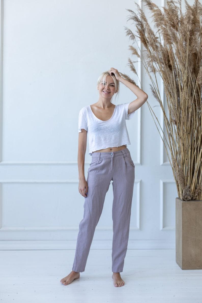 Linen PantsSoft Linen PantsFlax Soft Women PantsNatural Linen TrousersLoose Linen PantsWide Linen PantsWashed Linen Trousers