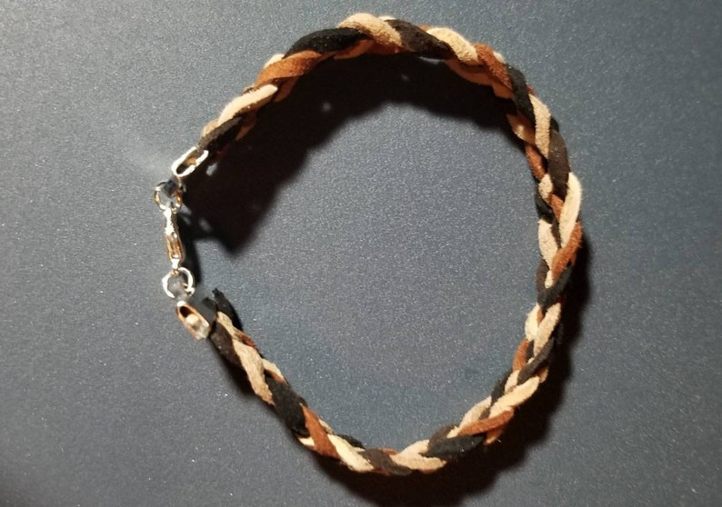 Lt dk Gray Lt Tan black dk.tan dk.gray Brown Suade 5-Braid bracelet made to order for any size you need colors: brown