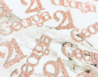 21st Birthday Party 40 x Personalised Name /& Age Glitter Table Confetti  Sprinkles Any Name Any Number Rose Gold More Colours