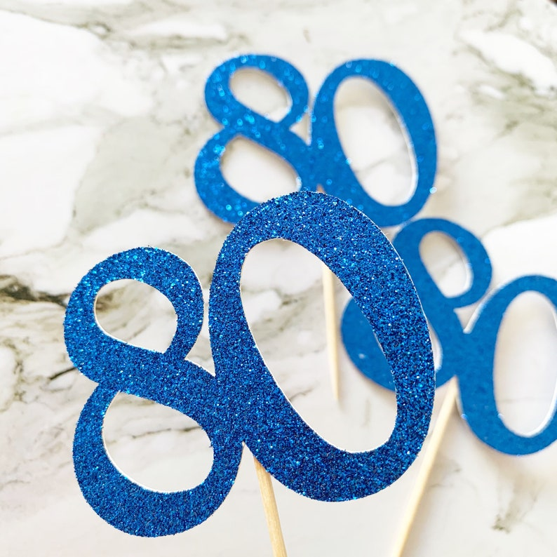 6 x Age Party Glitter Cupcake Toppers Many Colours Birthday 80th   Birthday Any Age Royal Blue Party
