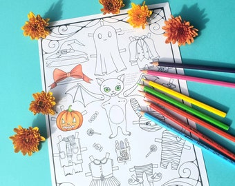 Halloween colouring activity, Printable dress up paper doll, Halloween craft for kids, Bat and toad articulated puppets, Digital download