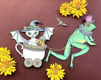 Halloween printable craft for kids, Bat and Toad articulated paper dolls, DIY spooky home decor, Digital collage print