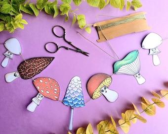 Cute mushrooms bunting garland, Printable DIY fungi paper decor, Fall home decor, Autumn decoration print, Instant digital download