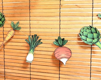 Printable vegetable bunting garland / Artichoke, leek, carrot and radish prints for fall decoration / DIY party / Digital Download