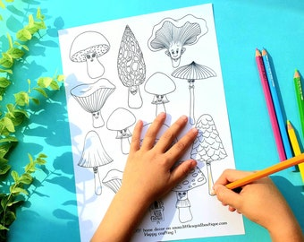 Mushroom colouring page, Fall paper decorations, Printable Nature ornaments, DIY fall decor, Cute fungi colouring sheet, Digital download