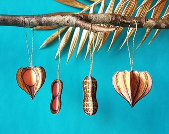 Physalis and peanut paper decorations, Printable DIY ornaments for kitchen or child's room, Paper craft fall decor, Digital download