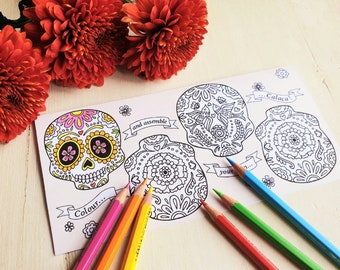 Printable Day of the Dead greeting card, 3D sugar skull craft, Day of the Dead colouring activity, DIY Halloween decor, Digital download