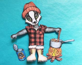 Printable woodland paper doll, Articulated badger dress-up game, Animal paper craft, Instant download