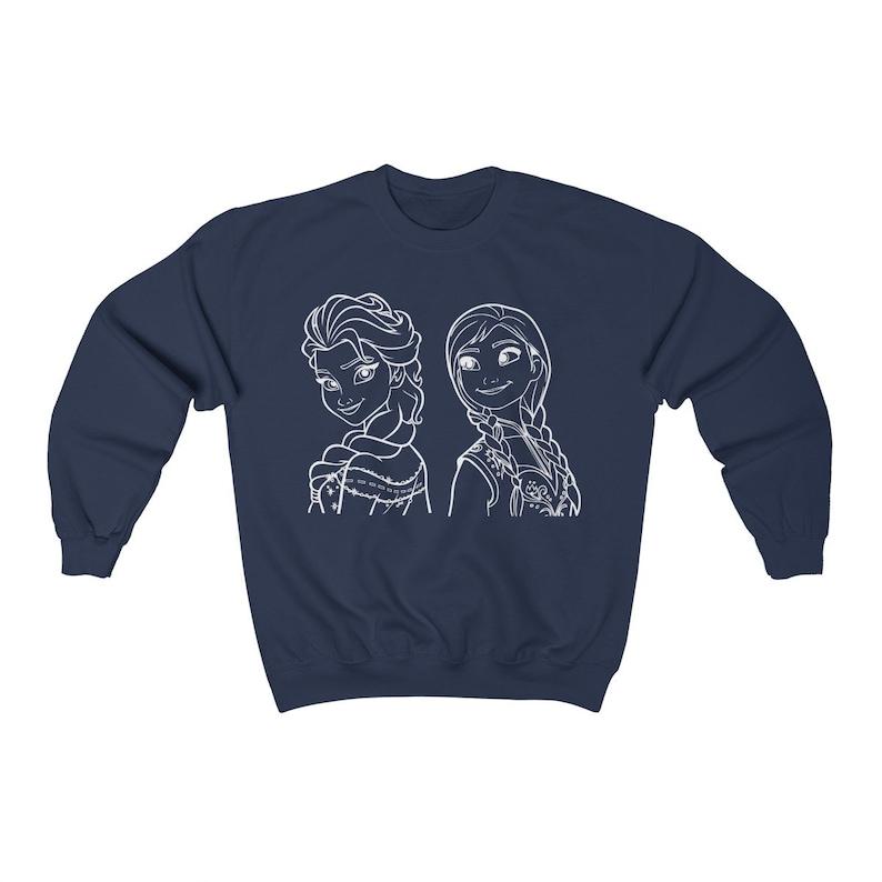 Anna /& Elsa Women/'s Crewneck Sweatshirt Disney Frozen Sisters