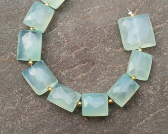 Quality Aqua Chalcedony Gemstone Beads A++ 6/'/' Inches Full Strand Rectangle Beads Faceted Beads Chalcedony Gemstone