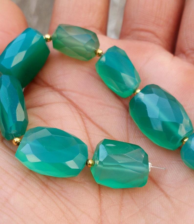 6.5 Inch Full Strand Vinayakgemsshop Natural Green Onyx Gemstone Nugget Faceted Beads