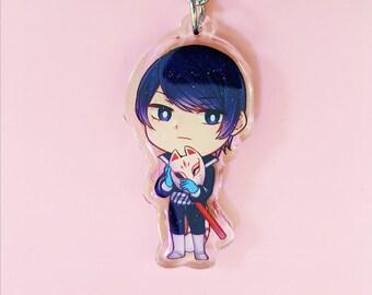 Persona 5 Yusuke Kitagawa 3 JUMBO Glitter Plastic Badge Button UNOFFICIAL Fanart