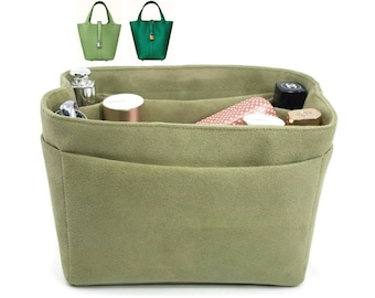 """Purse Organizer for Picotin 18 Bag Handbag 6.25x4.75"""" Olive Faux Suede Very Soft Feeling Fabric Lightweight Gift Ideas for Women"""