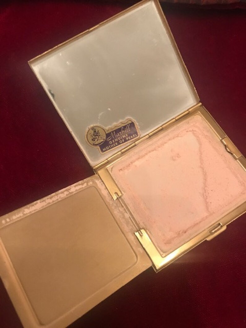 MARHILL Genuine Mother of Pearl Vintage Compact
