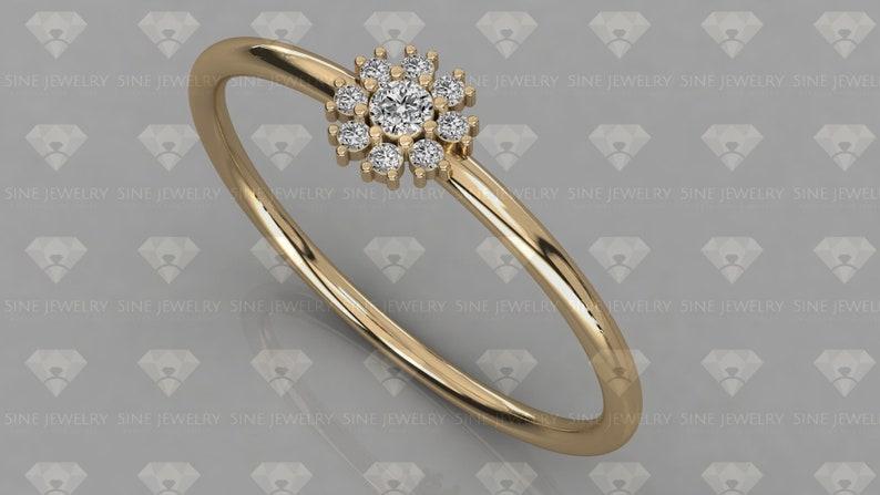 14k Gold Natural Diamond Ring  Round Cut Floral Cluster Diamond Ring  Minimalist Diamond Ring  Tiny Diamond Band  Rose Gold Ring