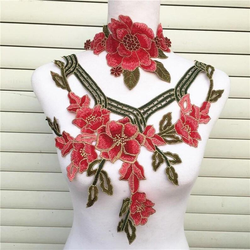 1Pc Peacock Lace Dress Decor Applique Motif Venise Lace Trim DIY Craft Making