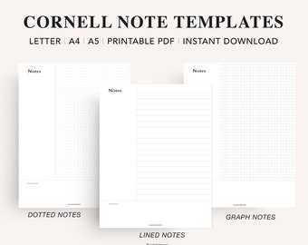 Cornell Notes Printable Pack, Cornell Notes Method, Student Note Taking Template, Lecture Notes Taking, Dot Grid Lined, PDF Instant Download