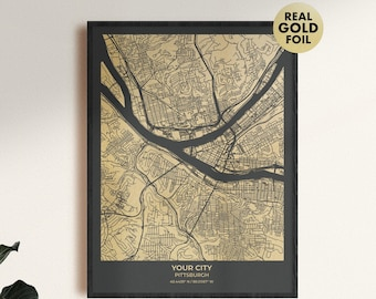 Custom map gift for Christmas or an anniversary, personalized gold foil custom map print of any city 55