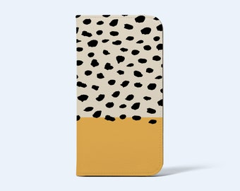 BLONDE DOTS WALLET Phone Case   For iPhone and Galaxy Models, Card Holder, Vegan Leather, Satin Finish, Block Colour Abstract Dots