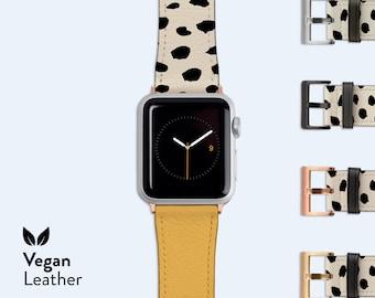 BLONDE Split Dots Apple Watch Strap    Vegan H21 Leather band, Available for Apple watch series 1, 2, 3, 4, 5, 6 & SE, Leopard Spots, Modern