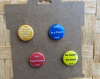 Ally is a Verb BLM Black Lives Matter Blue and White One Inch Pinback Badge Button Supporting What the Funk An All POC Burlesque Festival