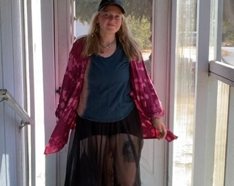 Size XXL Womens Flowy Plus Size Cardigan Pink and Dark Pink Dip Reverse Dye Bleach Dye Casual Clothes Unique Bleach Tie Dye Upcycle