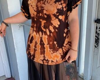 Size XL Adult Womans cut Short Sleeve Black and Orange Ruffle Sleeve Alternative Blouse Upcycled Bleach Dye Reverse Dye Casual Wear Spiral