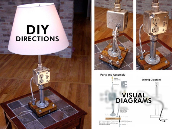Diy Directions Industrial Pipe Lamp Digital Download
