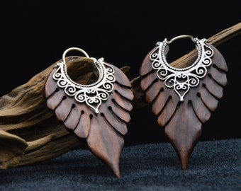 Narra Wood earrings and silver-plated brass