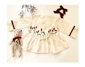 Baby Kimono, Hand Flowers Embroidery Blouse for Kids, Toddler Vintage Dress up, Matching Doll Girls Shirt, Baby Girl Wrap Blouse with a Doll
