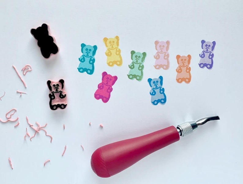 Candy stamps Fun Whimsical Rubber stamps Gummy Bear stamp set Set of two