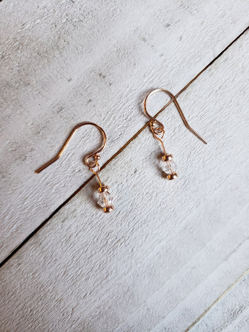 14k Rose Gold Filled Earrings with Glass Beads