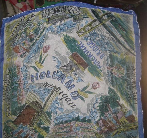 VINTAGE LINENS - Holland Mich Souvenir - Silk Scar