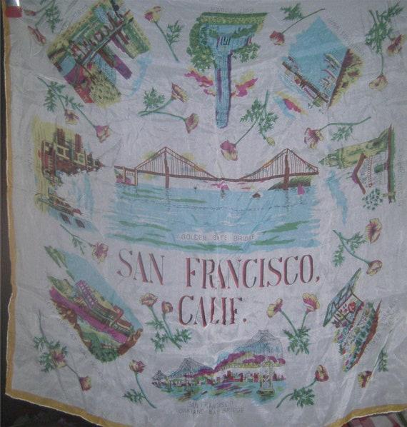 VINTAGE LINENS -San Francisco Souvenir Silk Scarf