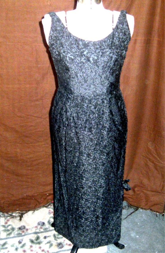 VINTAGE DRESS –Black Brocade Evening Gown – 1950's