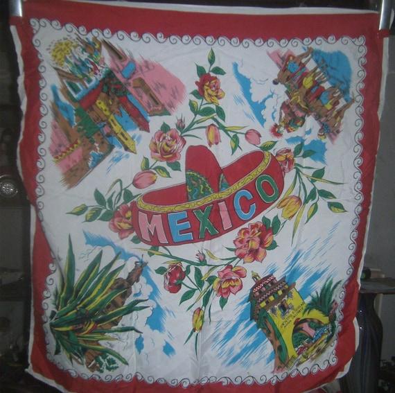 VINTAGE LINENS -Silk Scarf - Mexico Souvenir - 195