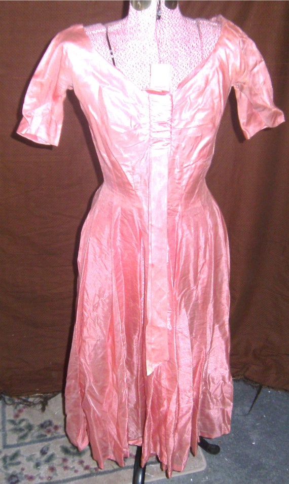 VINTAGE DRESS – Pink Rayon Dress - GiGi Young - 19