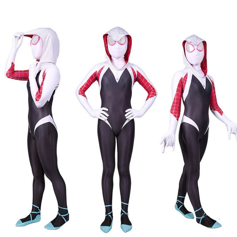 Anime Gwen Stacy Cosplay Costume Lycra Spandex Costume for Halloween Costumes Gwen Stacy Bodysuit for Adult Kids