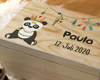 Gift for birth, memory box for baby, memory box, customizable wooden box with name and date, with lid, motif: panda