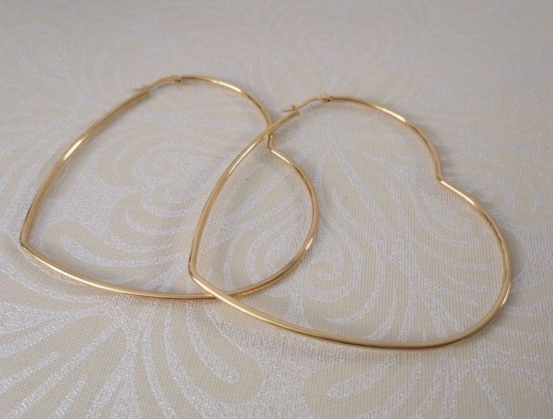 Large hoops -Pierced ears Timeless classic -retro Extra large 3.5 gold plated 304 stainless steel HEART SHAPE  wire hoop earrings Big