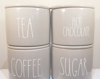 Rose Gold Tea Coffee Sugar Hinch Inspired Vinyl Decal Stickers Kitchen New
