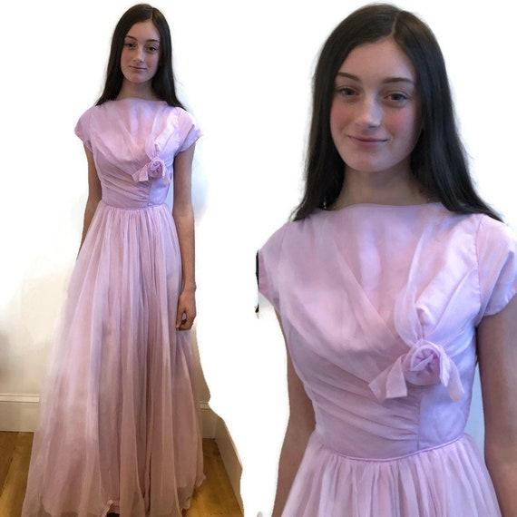1950's Pale Lavender long short sleeve gown Fit a… - image 1
