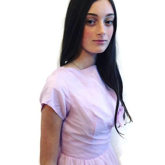 1950's Pale Lavender long short sleeve gown Fit a… - image 2