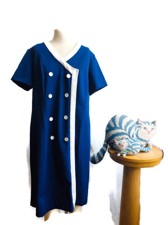 Vintage dress, 1960's blue and White Mod dress per