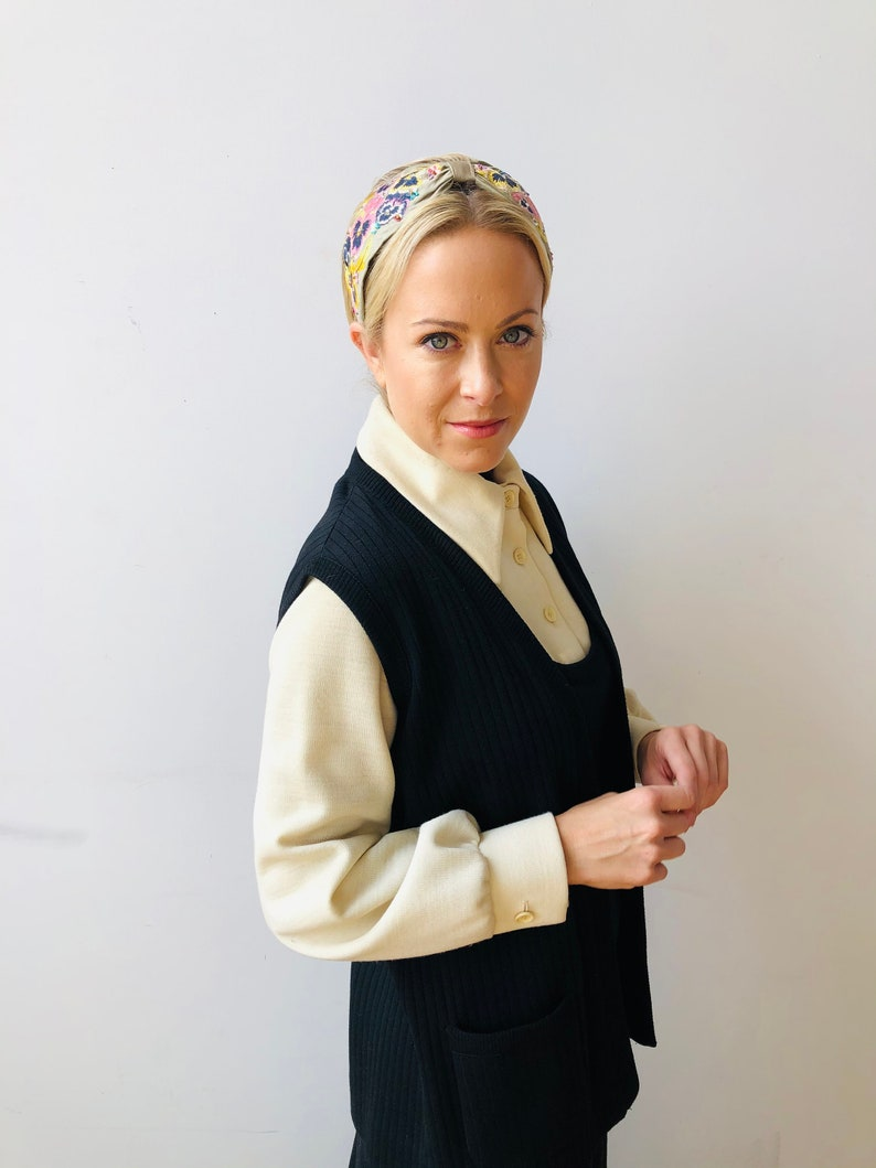 1960\u2019s Butte Knit dress with over vest black and cream 2 piece Long ribbed polyester wool Vintage clothing Mid Century Modern style dress