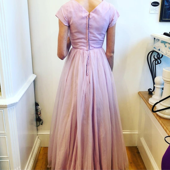 1950's Vintage dress pale lavender taffeta with t… - image 4
