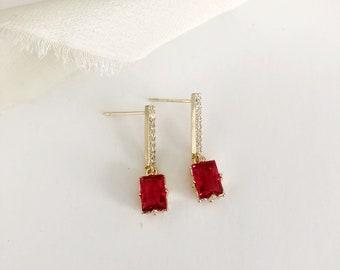 Modern on Trend earrings long ruby stud earrings triple gold miniature blush pink jewelry daily drop earrings bridal unusual earrings