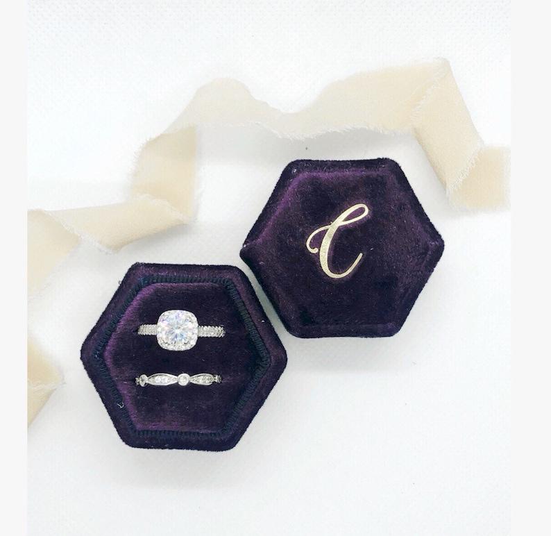 Plum Dark Purple Velvet Ring Box,Monogram engagement ring box custom ring box,personalized ring box,inital ring box,velvet ring box